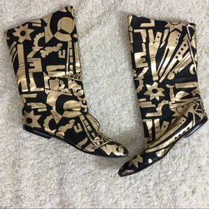 Leather black and gold slouch boots 6.5M